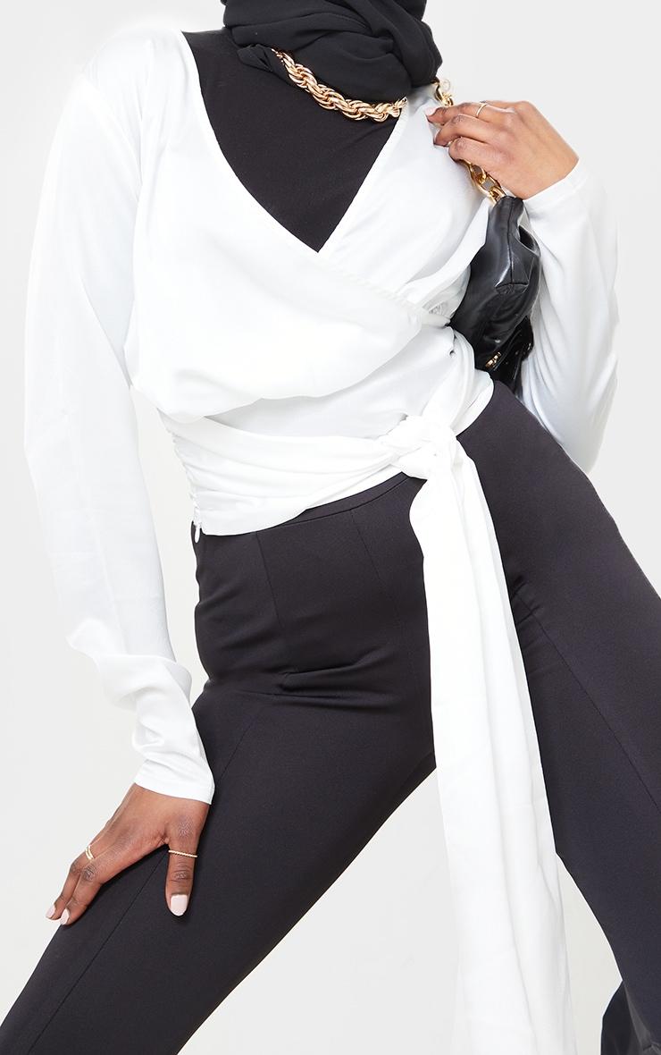White Printed Wrap Tie Blouse 4