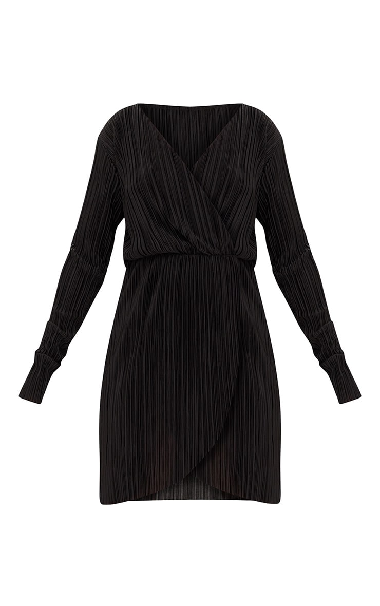 Black Long Sleeved Plunge Pleated Wrap Dress 3