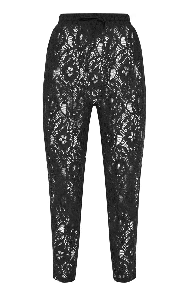 Black Drawstring Waist Lace Jogger 3
