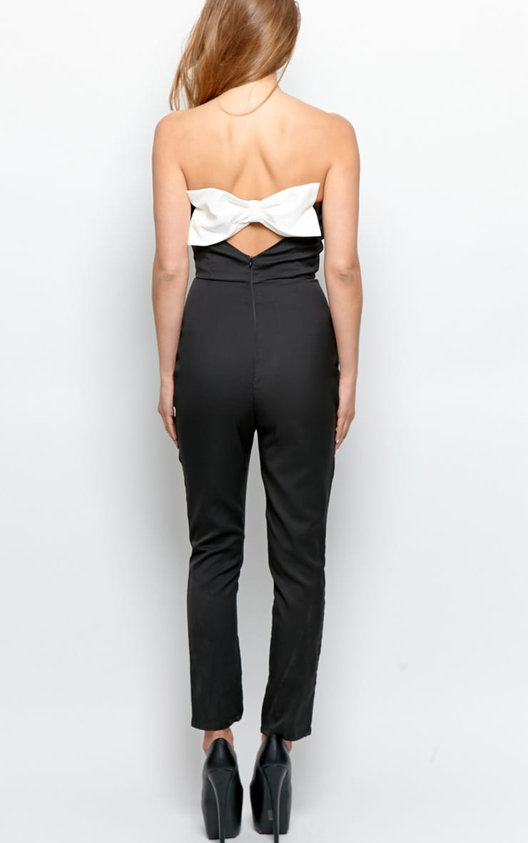 Tia Black Strapless Jumpsuit With Reverse White Bow Detail 2