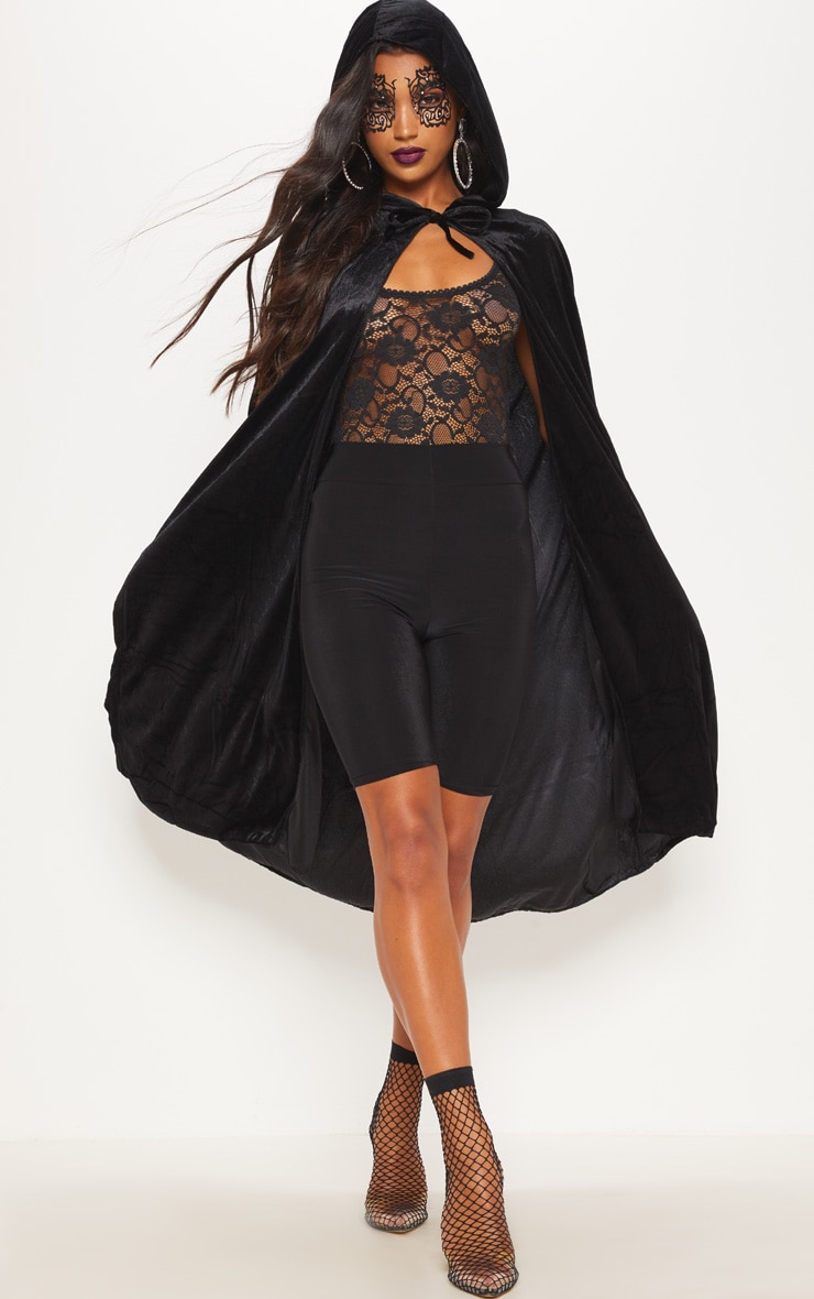 Hood Black Velvet Cape Fancy Dress Outfit 1