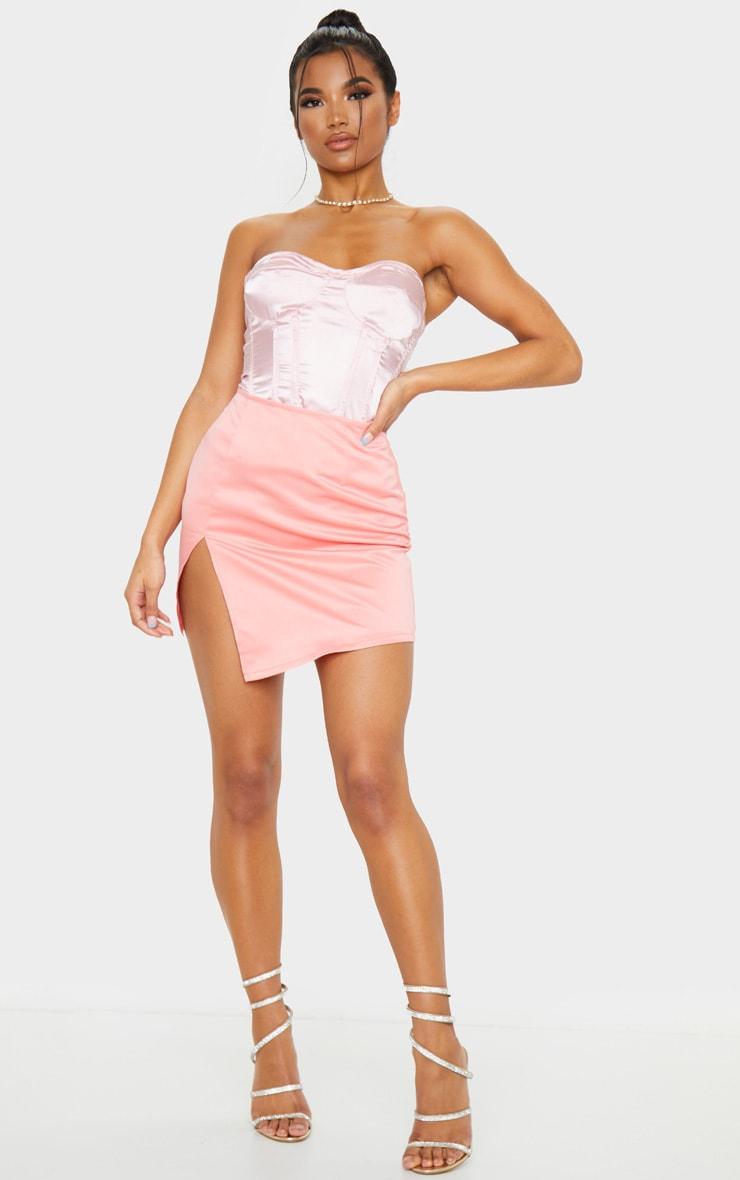 Pink Tailored Satin Split Front Mini Skirt 1