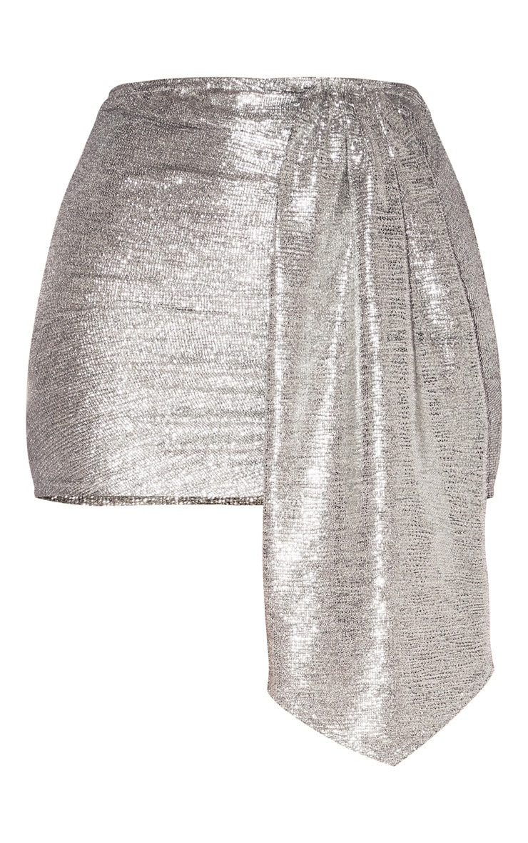 Silver Metallic Ruched Side Mini Skirt 4