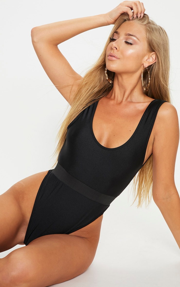 Black  Elastic Waist High Leg Swimsuit 1