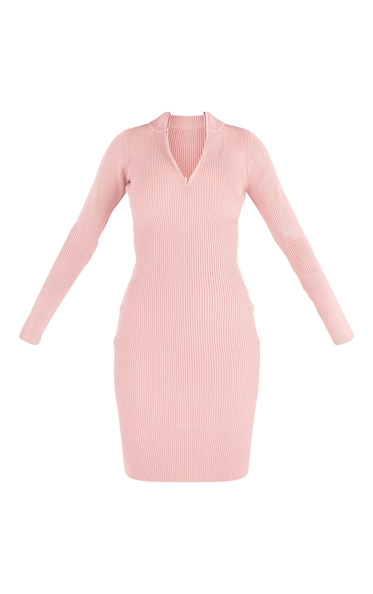 Tall Pink Zip Through High Neck Midi Dress 5