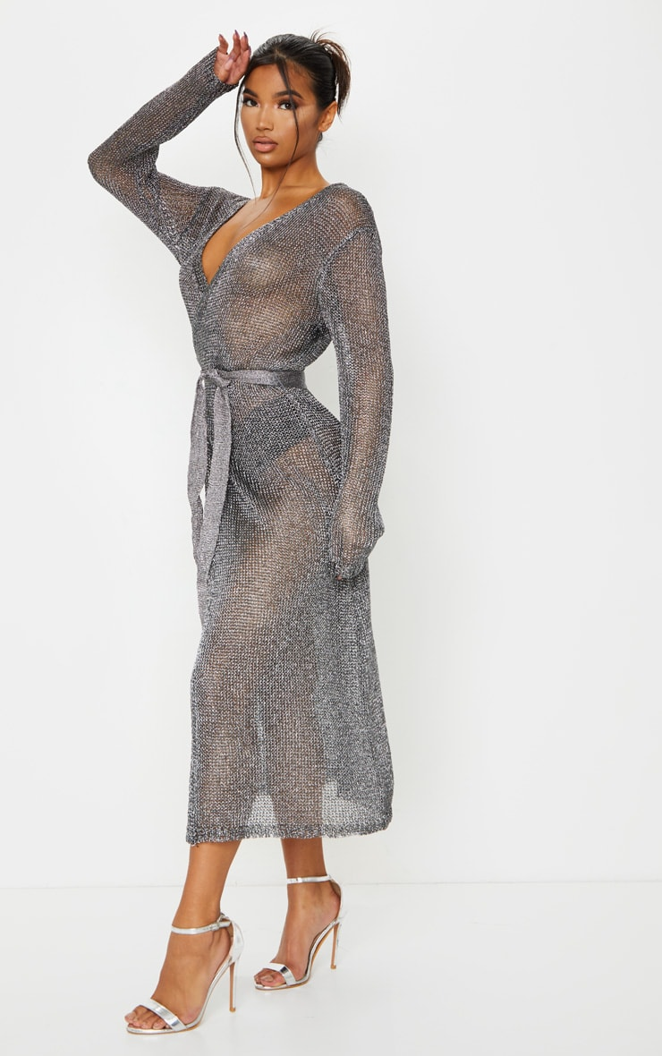 Silver Belted Metallic Knitted Dress 3