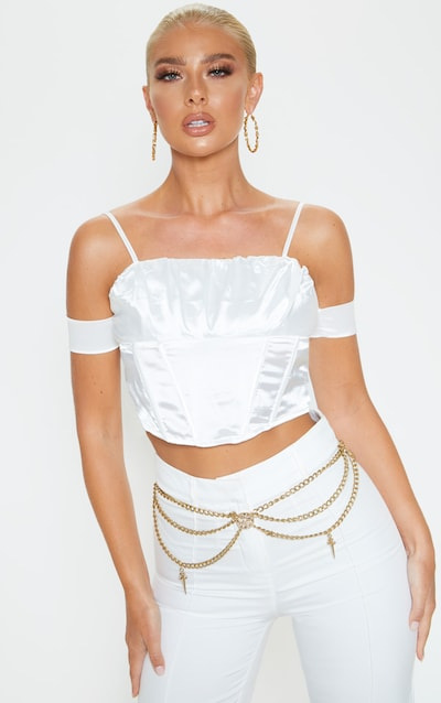 White Satin Ruched Bust Off the Shoulder Corset