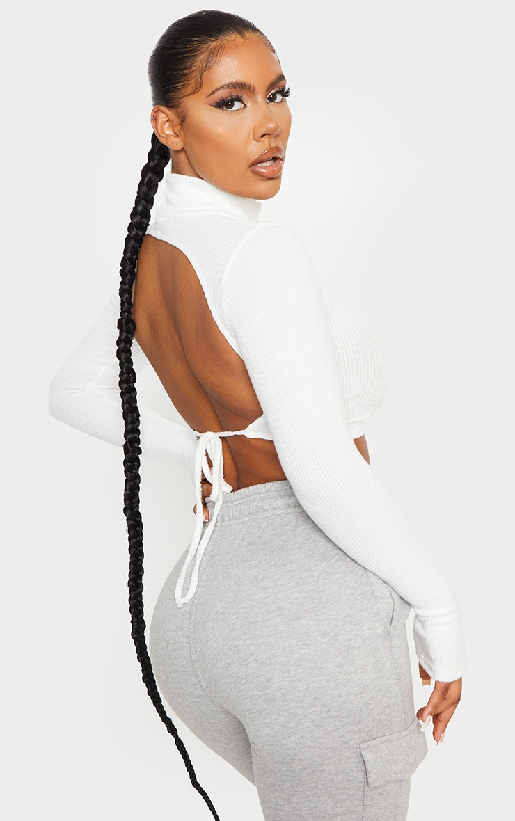 White Brushed Rib High Neck Backless Tie Crop Top 4