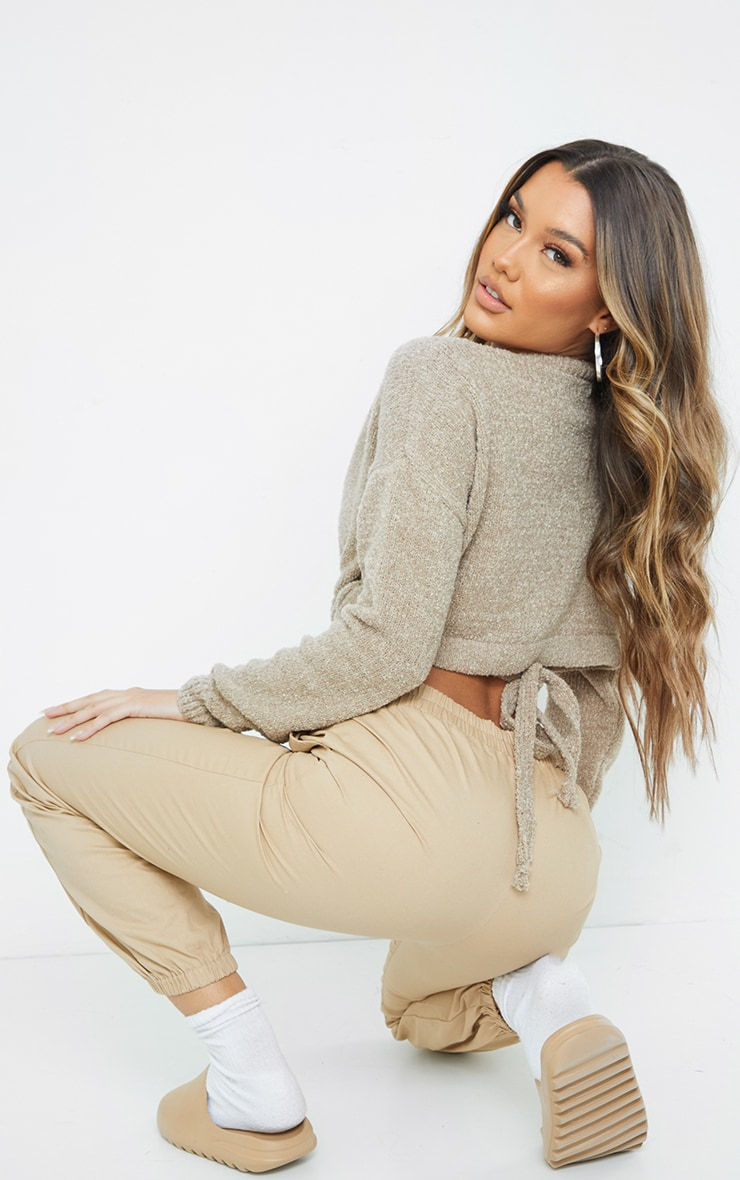 Camel Drawstring Knitted Boucle Crop Sweater 2