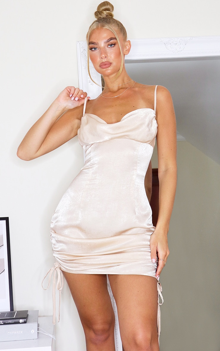 Champagne Satin Ruched Side Strappy Bodycon Dress 1