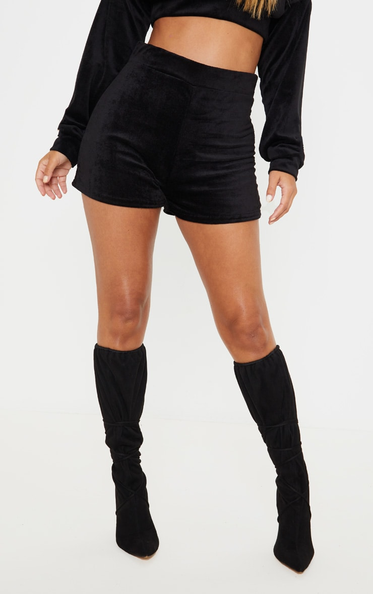 Petite Black Floaty Velour Shorts 2