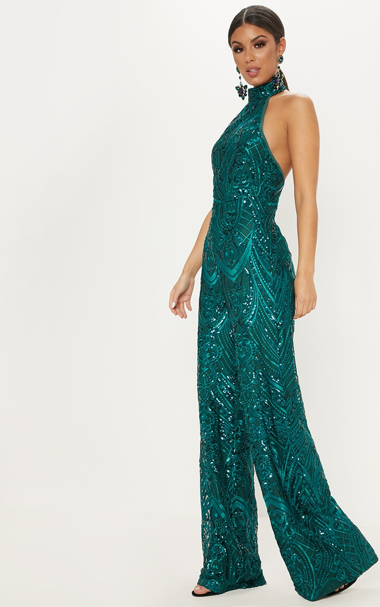 Green Sequin High Neck Jumpsuit 4
