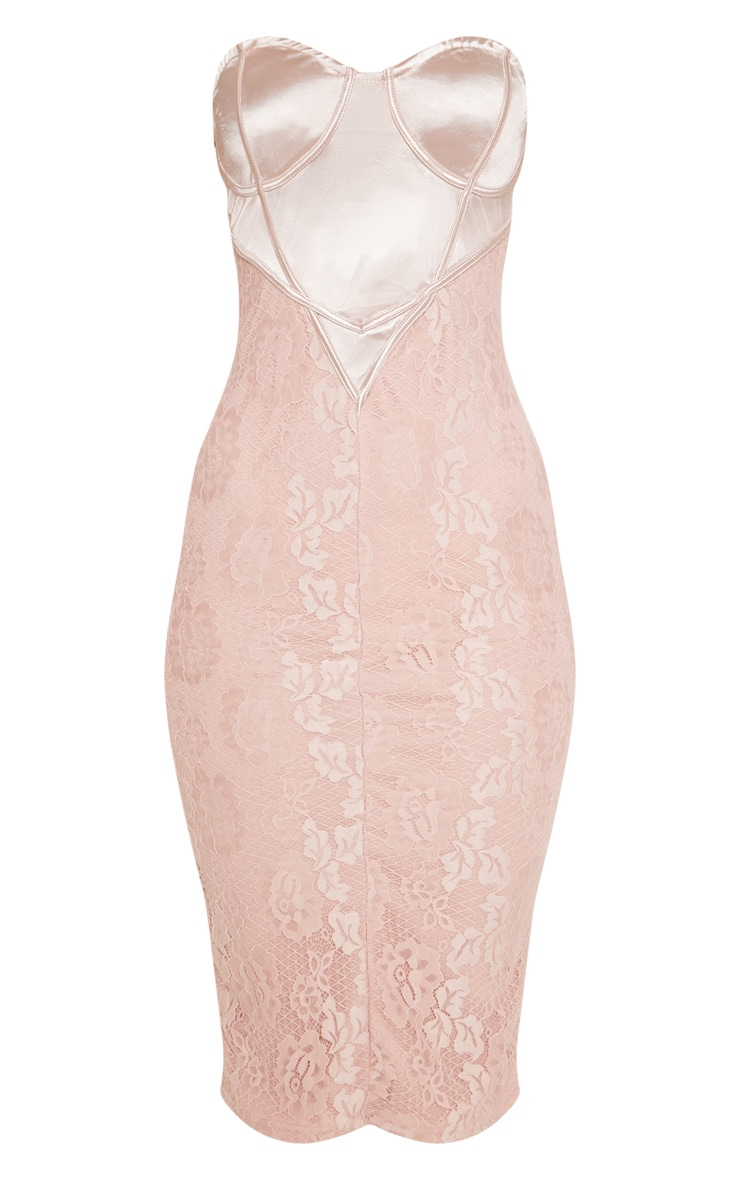 Dusty Pink Satin Bustier Lace Midi Dress 3