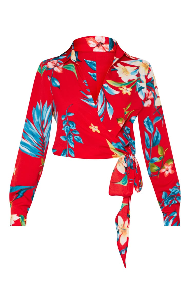 Red Floral Tie Waist Blouse 3