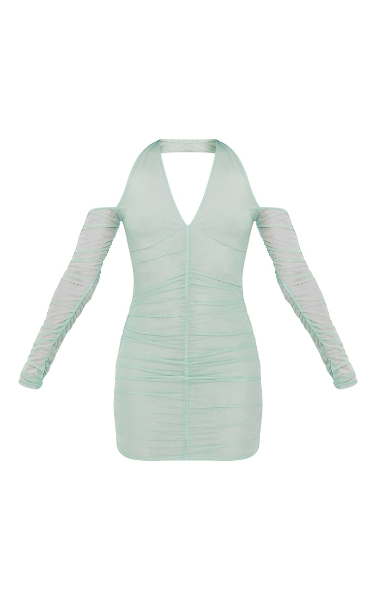 Washed Green Halterneck Long Sleeve Mesh Ruched Bodycon Dress 5