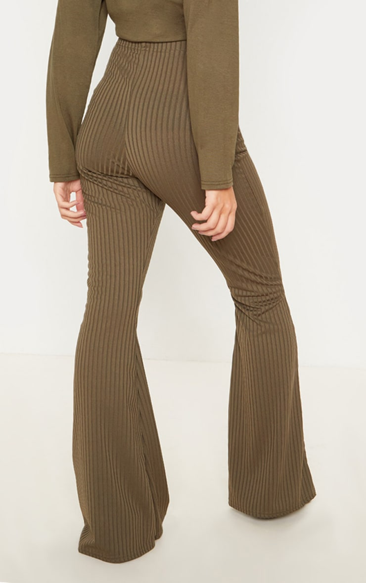 Khaki Tie Detail Ribbed Flare Trouser 4