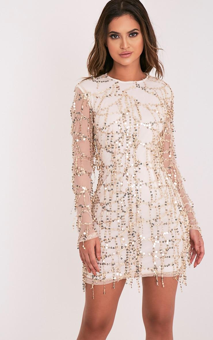 b276a314f964 Freyana Rose Gold Sequin Detail Long Sleeve Mini Dress image 1