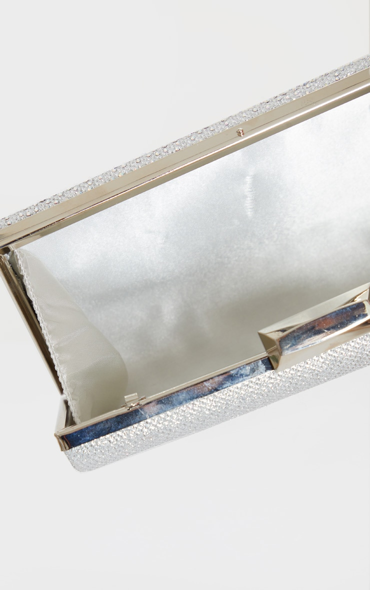 Silver Glitter Metal Frame Clutch Bag 4