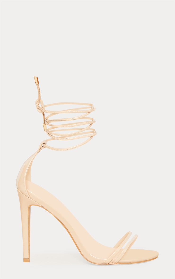 Nude Strappy Barely There Ankle Tie Sandal 3