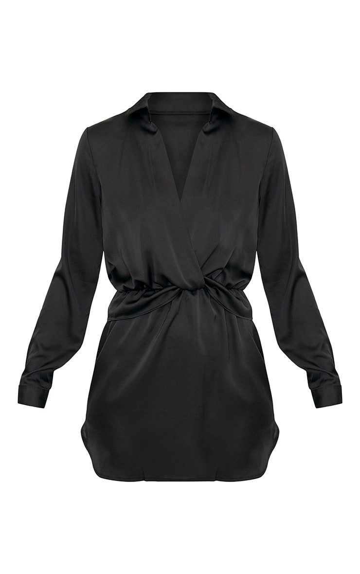 Katalea Black Twist Front Silky Shirt Dress 3