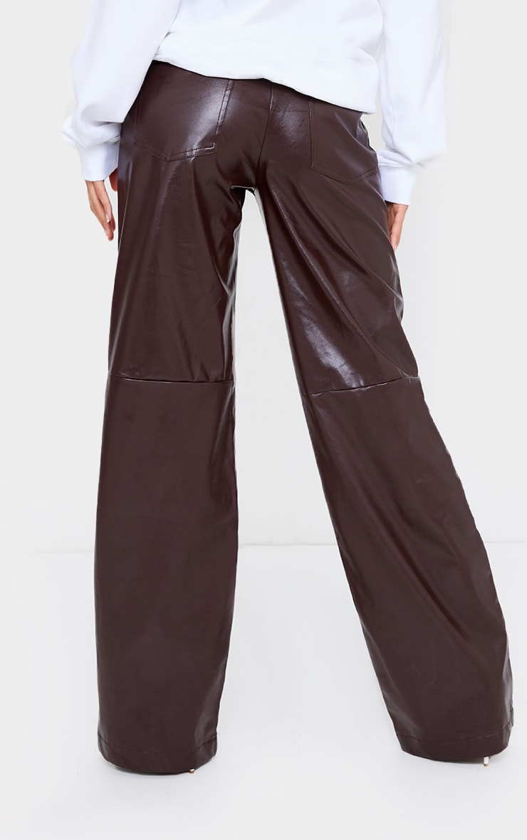 Chocolate Faux Leather Stitch Detail Wide Leg Trousers 3