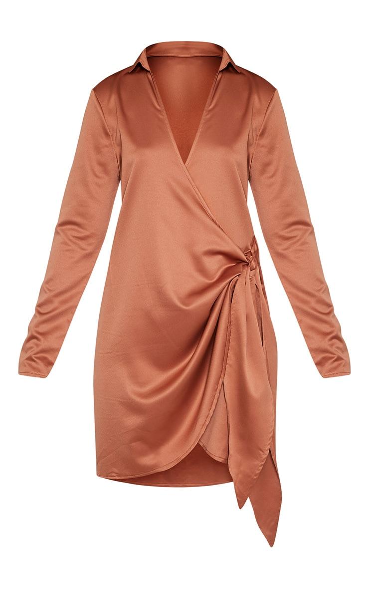 Shaylene robe chemise tabac en satin à cordon à nouer à la taille 3