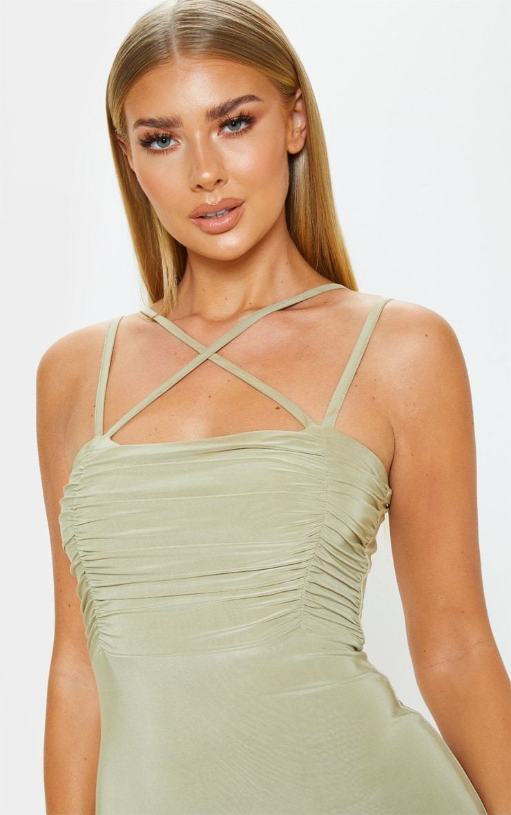 Sage Green Slinky Ruched Bust Strappy Bodycon Dress 4
