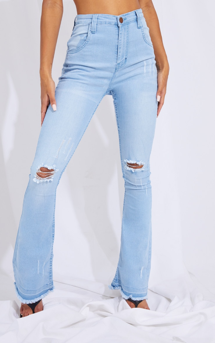 Light Blue Wash Ripped Knee Flare Jeans 2