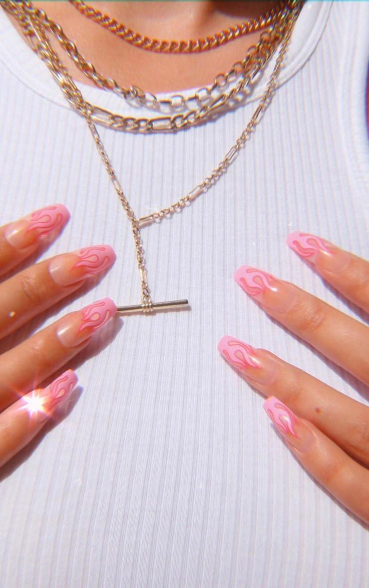 SHRINE X Alice Mc Pink Flames Stick On Nails 5