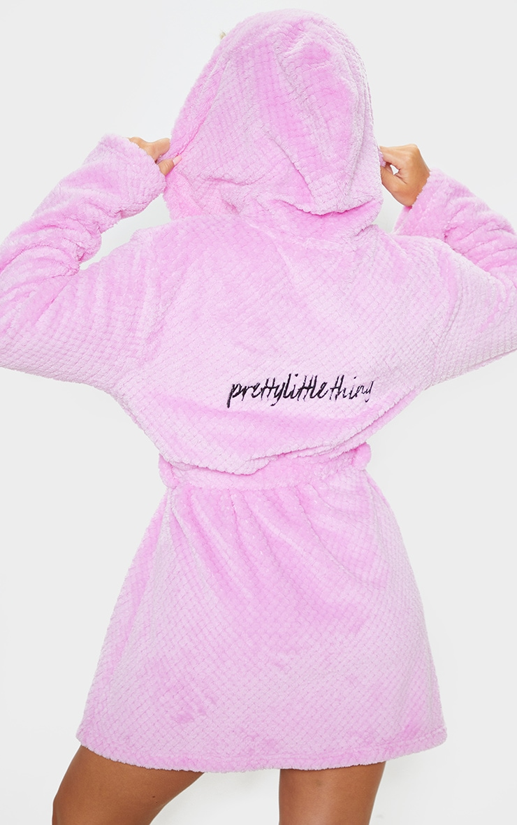 PRETTYLITTLETHING Lilac Textured Fluffy Dressing Gown 1