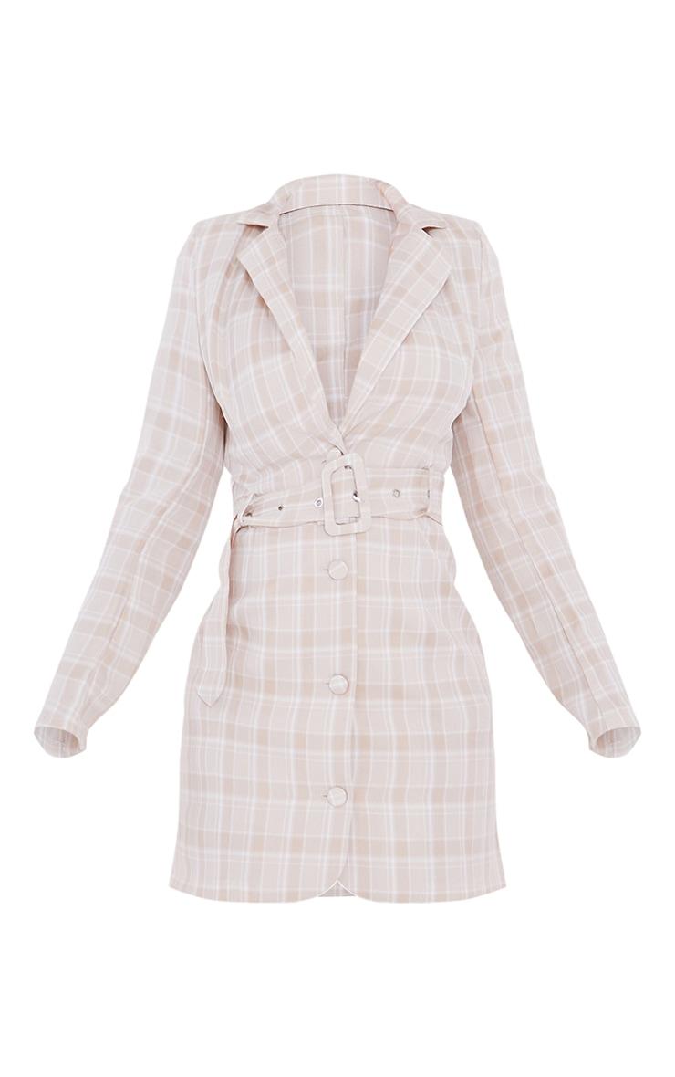 Stone Check Print Shoulder Pad Belted Shirt Dress 5