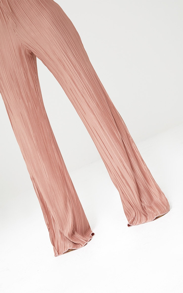 Petite Pink Pleated Split Wide Leg Trousers 3