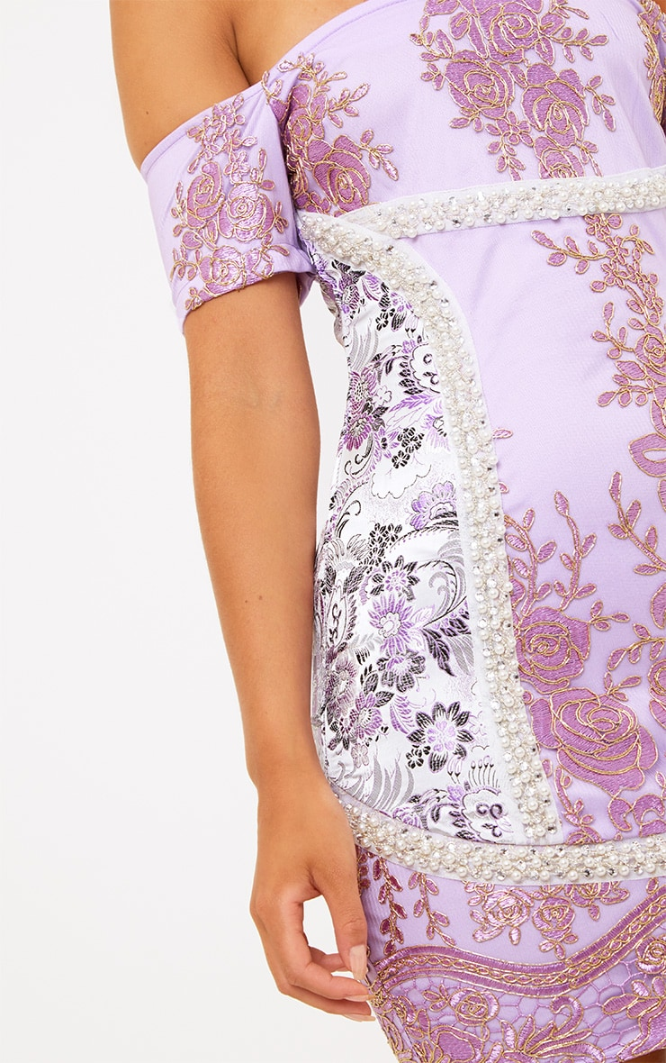 Premium Purple Embroidered Lace Bardot Bodycon Dress 6