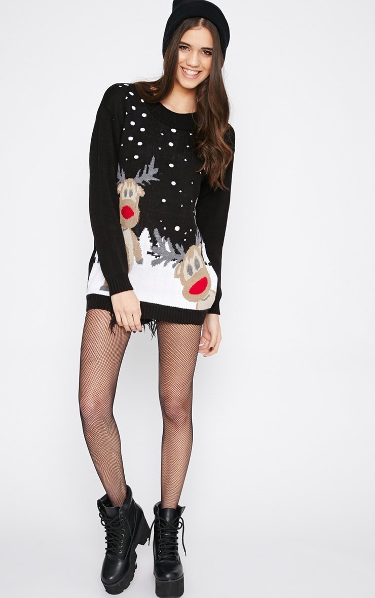 Tarah Black Reindeer Snow Christmas Jumper 3