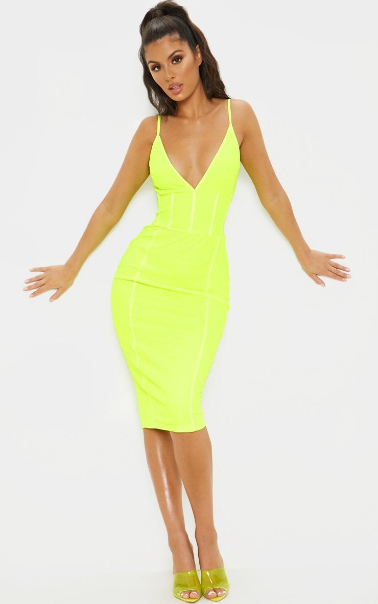 Neon LimeBinding Midi Dress 1
