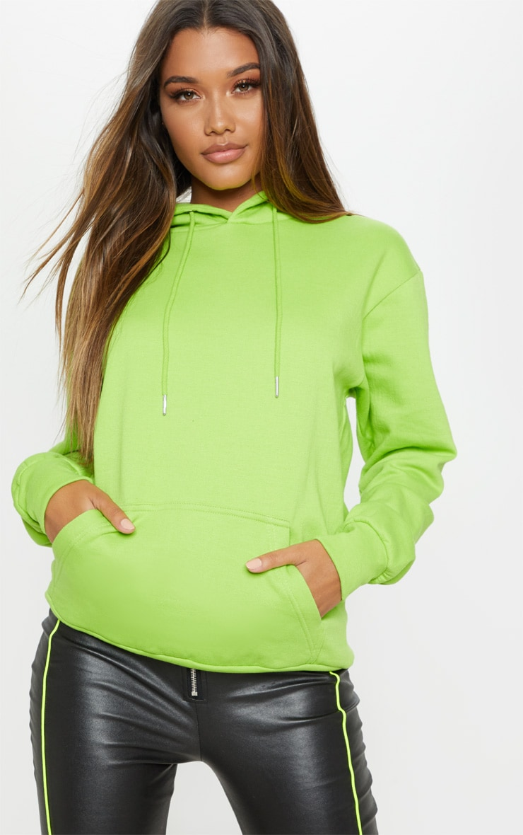 PRETTYLITTLETHING Lime Print Hoodie 2