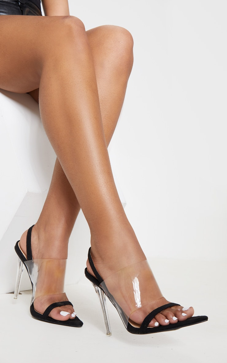 Black Slingback Point Toe Sandal 1