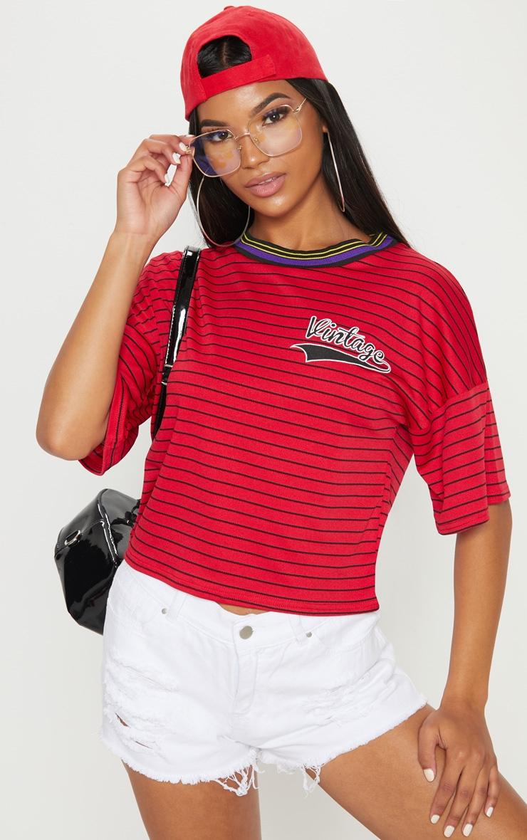 Red Vintage Slogan Pinstripe Boxy T Shirt 1