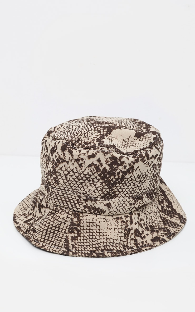Natural Snake Print Bucket Hat 2