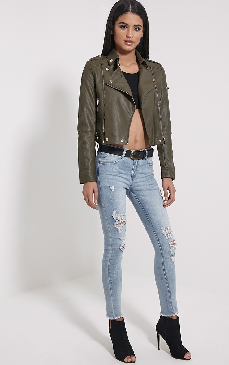 Blake Khaki Faux Leather Biker Jacket 3