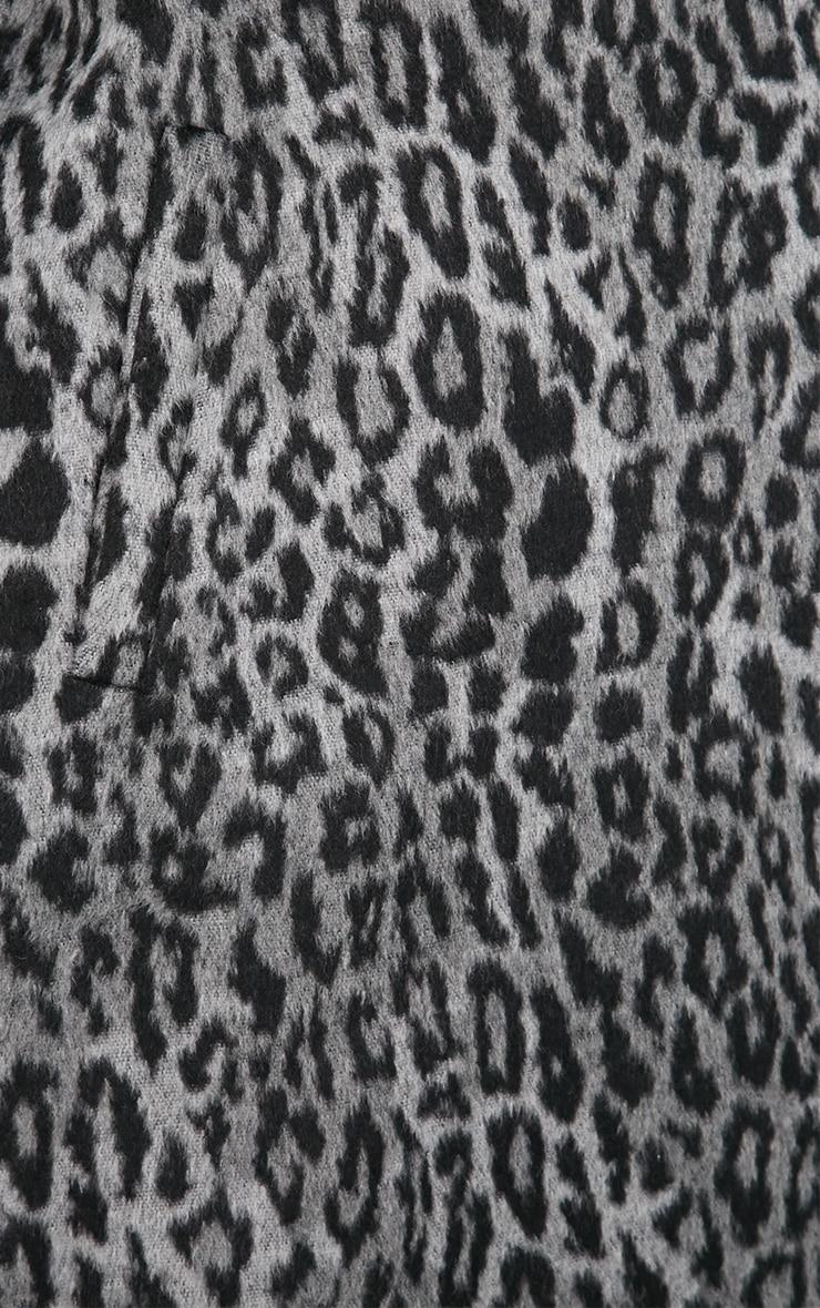 Tansy Charcoal Leopard Longline Coat  4