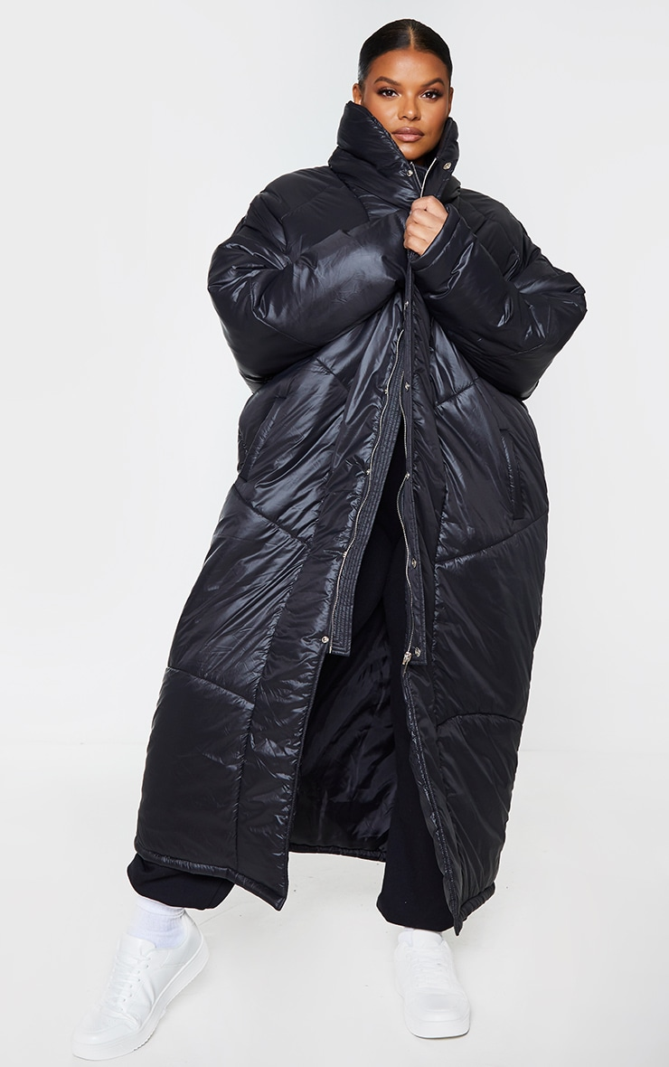 Plus Black Midi Oversized Puffer Coat 3