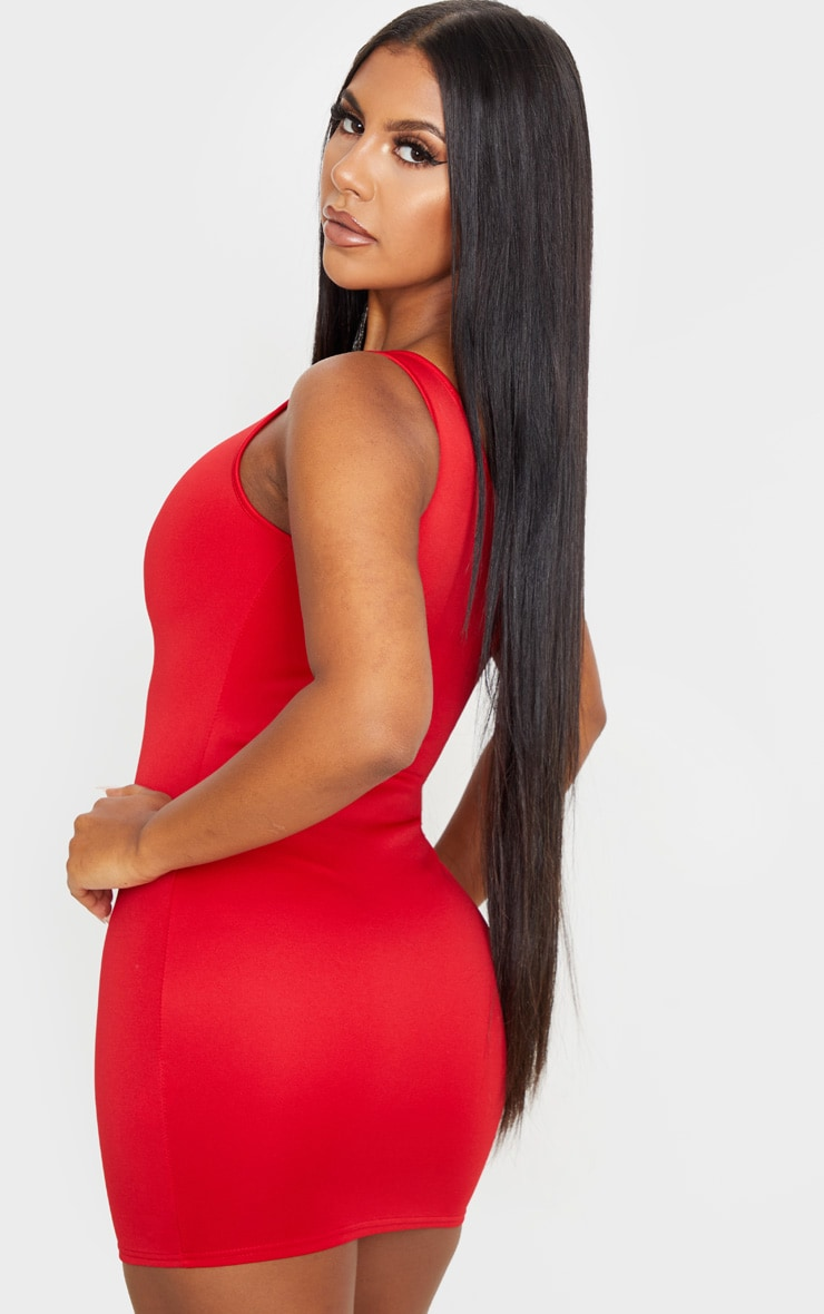 Red One Shoulder Strap Detail Bodycon Dress 2