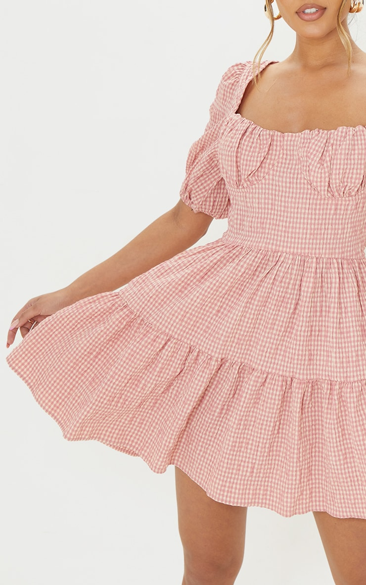 Pink Gingham Print Crinkle Underbust Detail Tiered Smock Dress 4