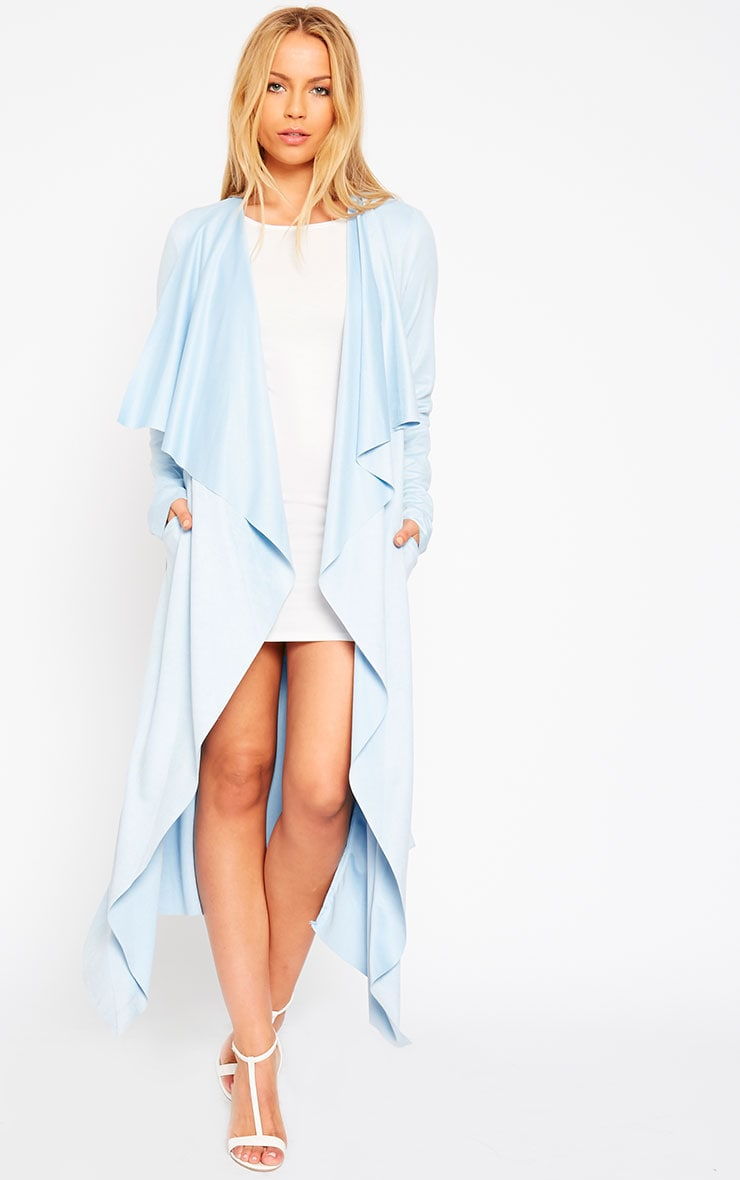 Liberty Powder Blue Suede Waterfall Coat 5