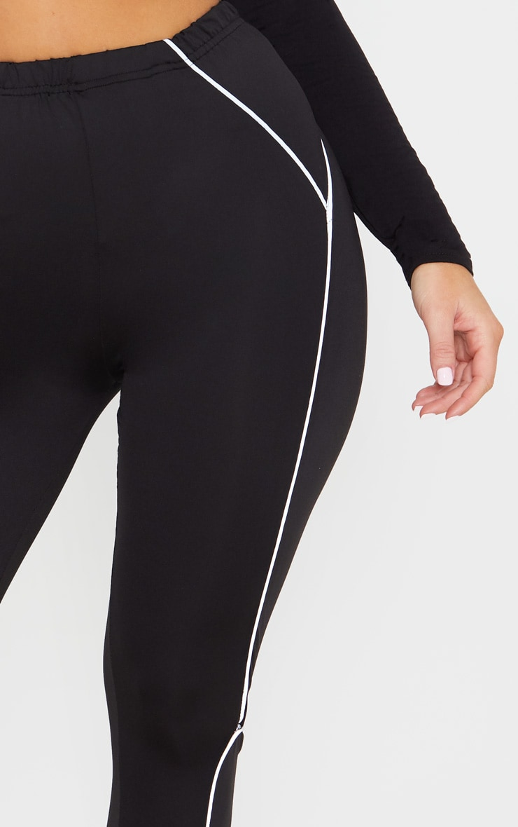 Black Reflective Piping High Waist Gym Legging 5