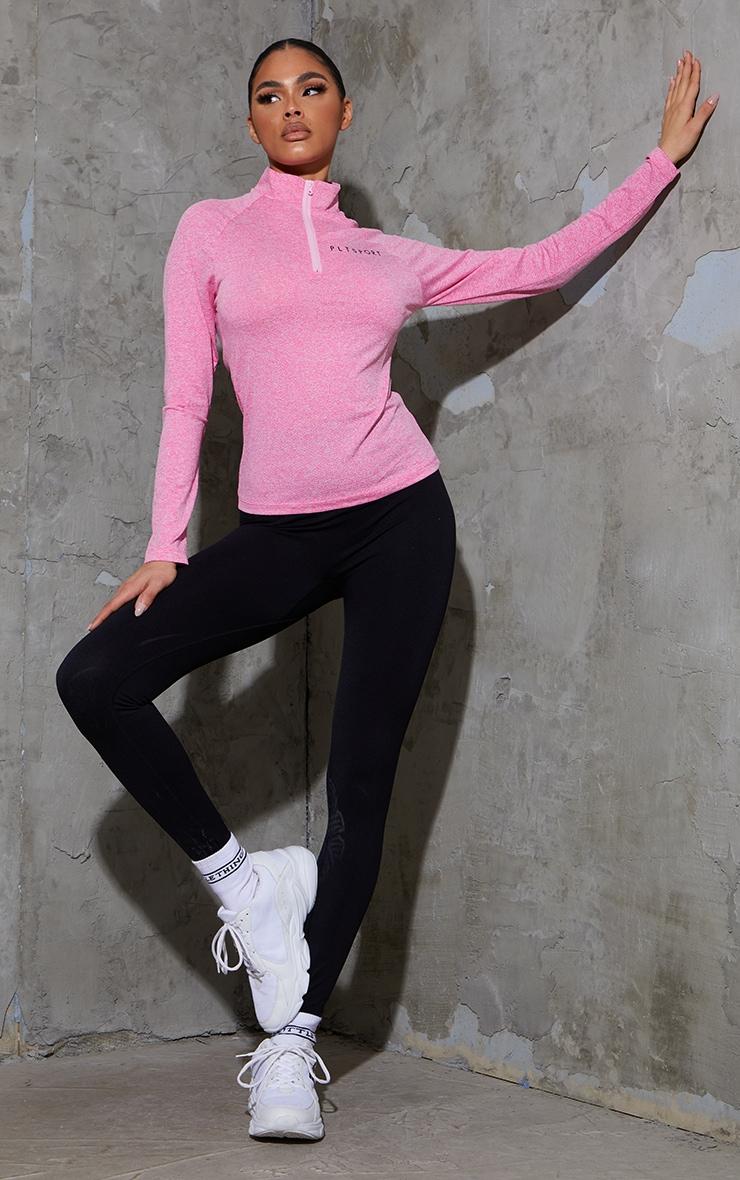 Pink Long Sleeve Airtex Marl Zip Up Jacket 3