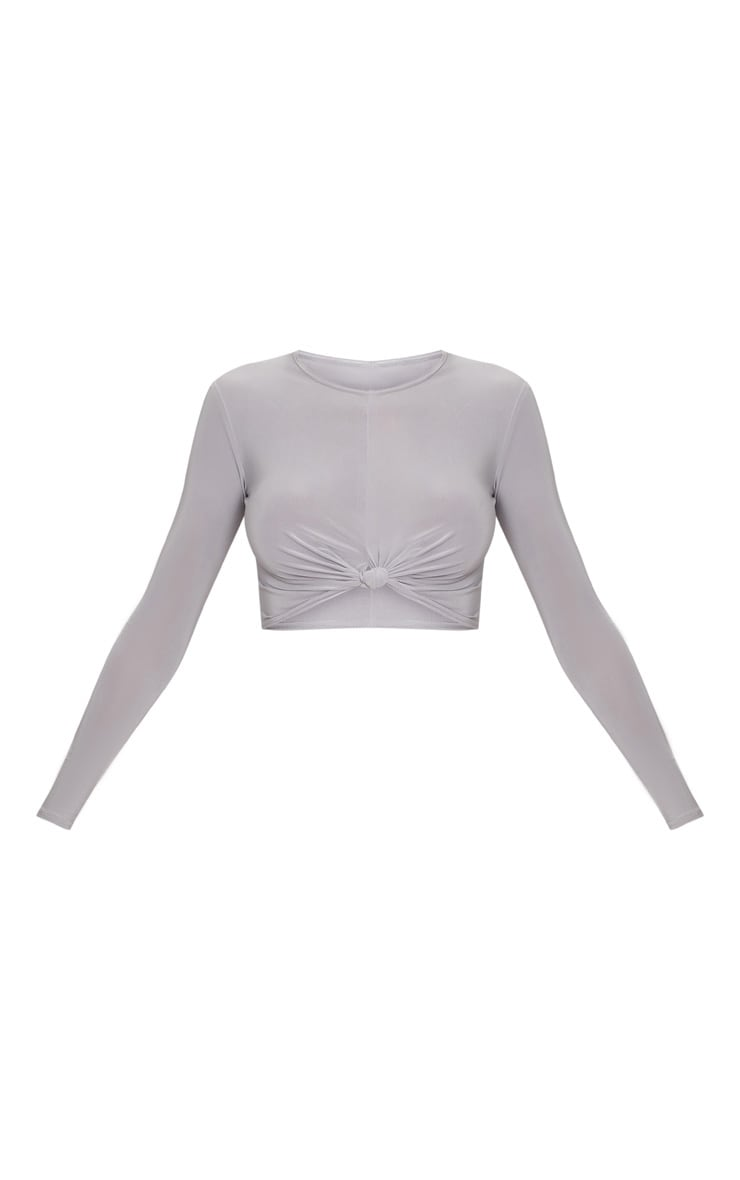 Ice Grey Slinky Knot Front Long Sleeve Crop Top 3
