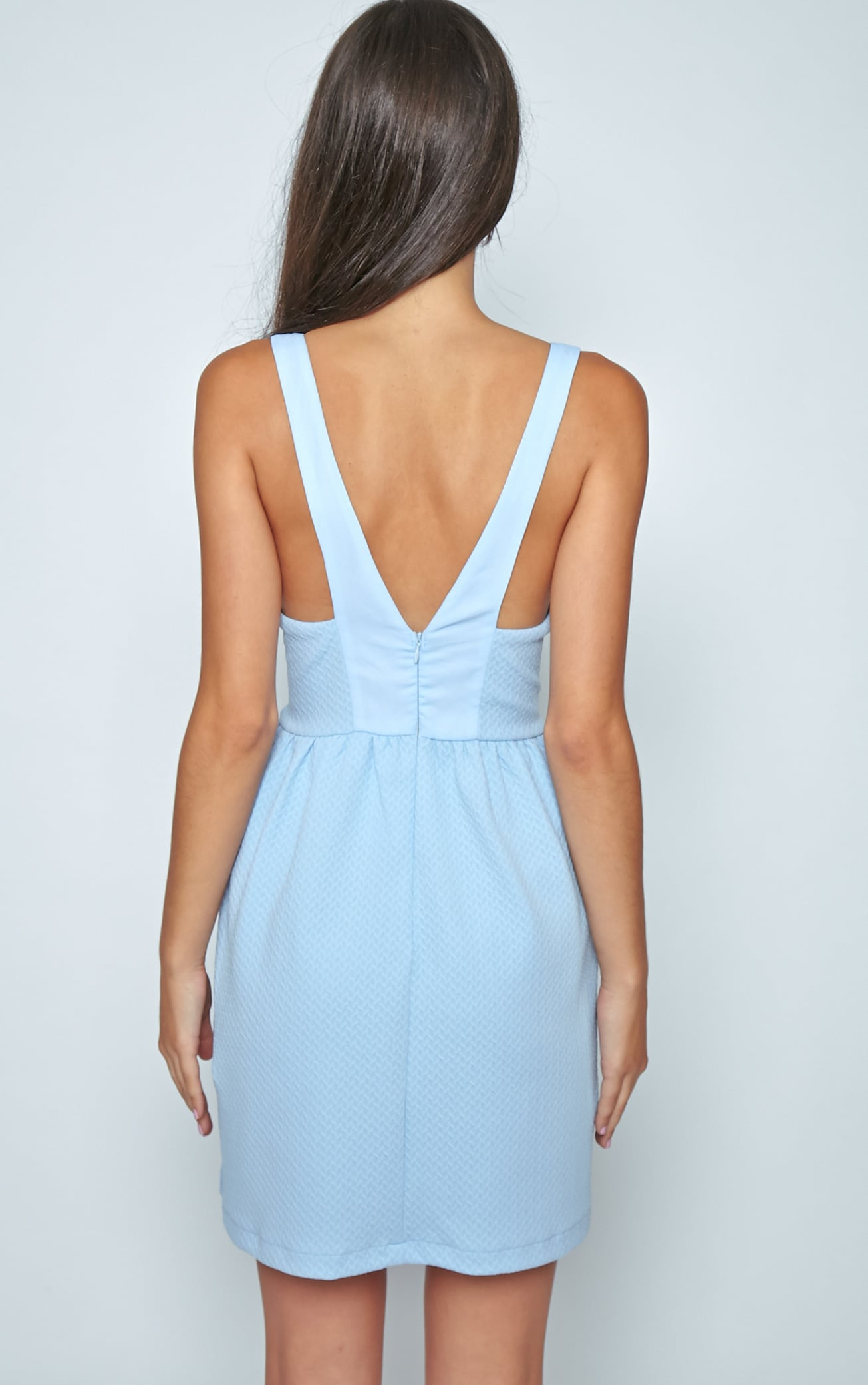 Teri Poweder Blue Textured Cut Out Skater Dress 2