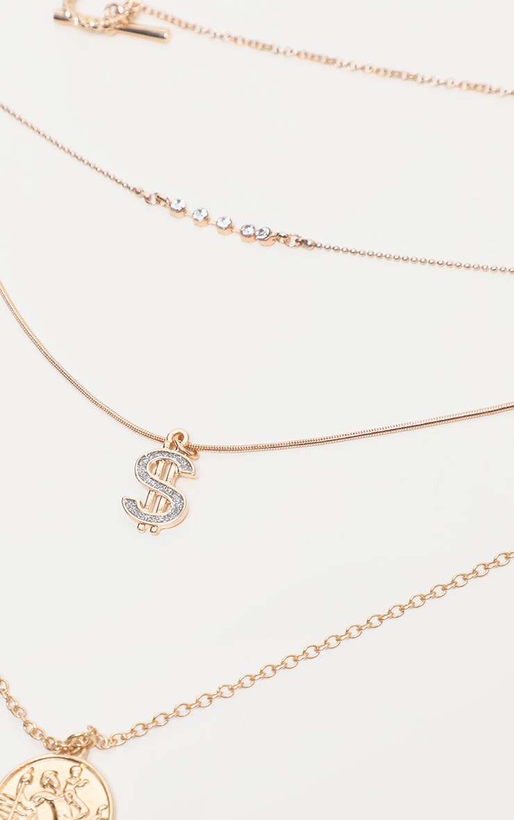 Gold Diamante Dollar Sign And Disc Multi-Layer Necklace 3